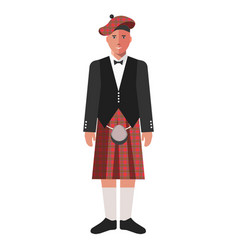 scotsman in red kilt skirt and black jacket vector image
