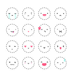 set of cute emotions vector image vector image