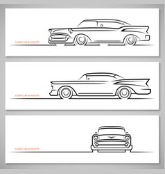 Set of vintage classic car silhouettes vector