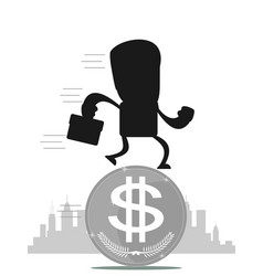 Time for invest man with gold coin vector