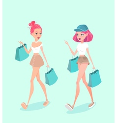 Two young hipster girls going down the street with vector image