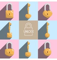 unlock lock master key vector image