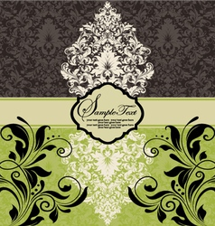 Vintage damask invitation vector