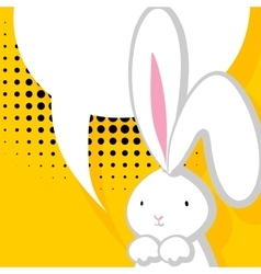 White cute rabbit comic bubble vector