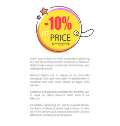 10 off price round sticker abstract hanging ball vector