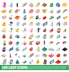 100 lady icons set isometric 3d style vector image vector image