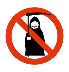 Stop death grim reaper is prohibited frozen vector