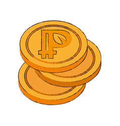 Peercoin cryptocurrency stack icon vector
