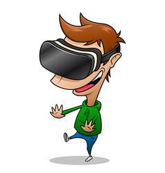 Boy wearing vr headset having fun vector