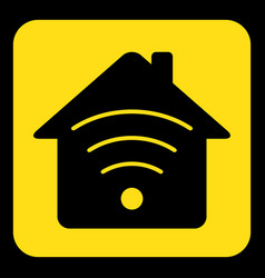 Yellow black sign - house with signal icon vector