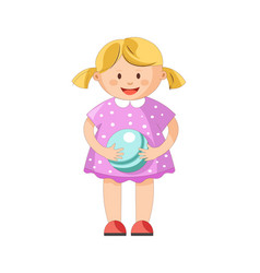 Little blond girl with ponytails in polka dotted vector