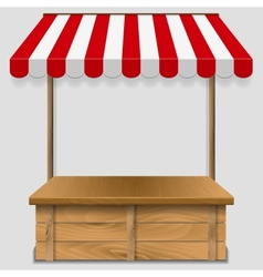 Store window with striped awning vector