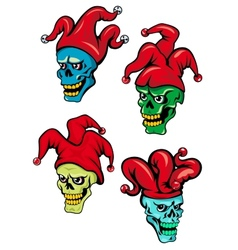 Cartoon clown and joker skulls vector