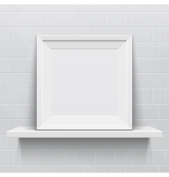 Realistic picture frame on white realistic shelf vector