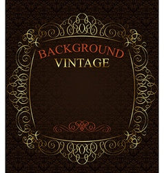 Vintage background with golden frame vector