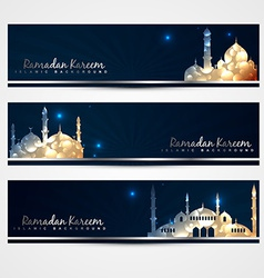 Stylish set of ramadan banners vector