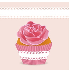 Background cake cupcake with cream roses vector