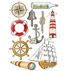 Set of isolated nautical icons vector image