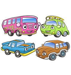 Funny vehicles cartoon and isolated characters vector