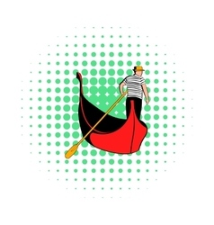 Gondola with gondolier icon comics style vector