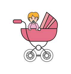 Baby girl inside carriage icon vector