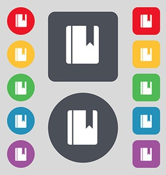 book bookmark icon sign A set of 12 colored vector image vector image