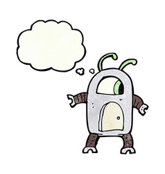 Cartoon alien robot with thought bubble vector