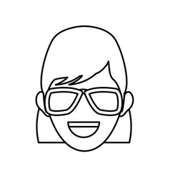 character woman head person image contour vector image