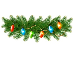 Christmas background with colorful garland and fir vector image vector image