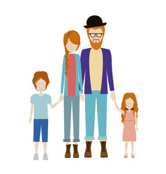 Color silhouette family with redhead and dad with vector