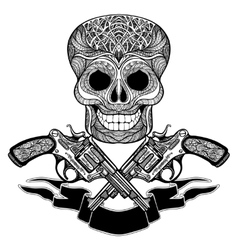 Crossed guns with ornaments ribbon and skull vector
