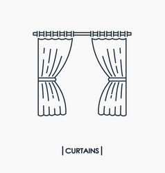 curtains outline icon isolated vector image vector image