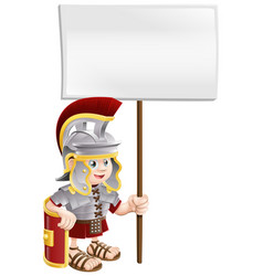 Cute roman soldier holding sign board vector