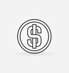 Dollar coin line icon vector