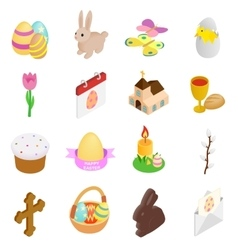 Easter isometric 3d icons vector image vector image