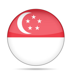 Flag of singapore shiny round button vector