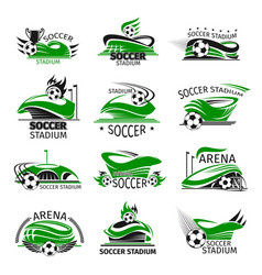 Football isolated icons of soccer arena vector