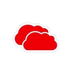 Icon sticker realistic design on paper clouds vector