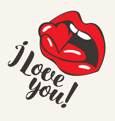 inscription i love you with mouth biting heart vector image vector image