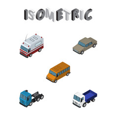 Isometric transport set of autobus lorry auto vector