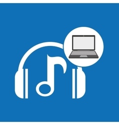 Laptop music technology note headphones vector