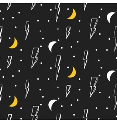 Lightning seamless pattern Black and white vector image vector image