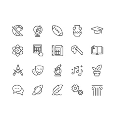 Line school subjects icons vector