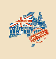 Map of australia free delivery stamp vector