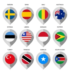 Marker from paper with flag for map - set third vector