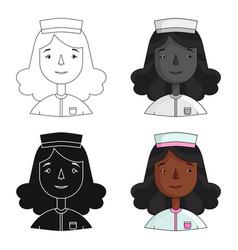 Nurse icon in cartoon style isolated on white vector