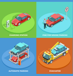parking isometric collection vector image vector image