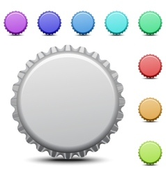 Realistic colorful bottle caps vector