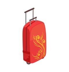 Red large suitcase on wheels with telescopic vector