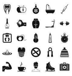running icons set simple style vector image